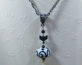 Redesigned Vintage / Modern Focal Lampwork Bead Pendant Necklace 20 inch Length 2mm Rope Chain