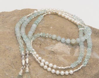 Aquamarine and Akoya Pearl Sterling Silver Lariat Necklace