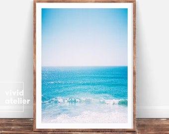 Ocean Waves, Beach Print, Ocean Art,  Ocean Water Wall Art, Coastal Art, Beach Decor, Modern Coastal Decor, Instant Download, Large Poster