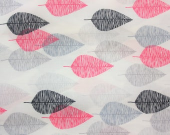 Cloud 9 Fabrics / Organic Cotton Fabric / White Grey Pink Black / Sketched Leaves / Women Blouse Dress Quilting Wall Decoration / Half Metre