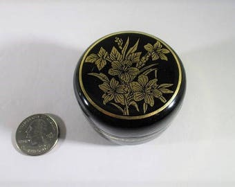 Vintage Mini Lacquerware Trinket Box, Round Pill Box Container, Ring Size, Black and Gold Tone, Floral Lily Pattern