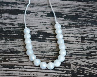 Pearl Silicone Teething Necklace, Pearl White Beads, Dress Up, Special Occassion, Baby Teething Jewelry, Sensory Necklace, Autism, ADHD, ADD