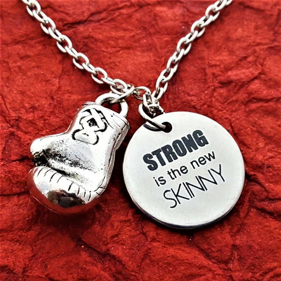 Boxing Charm Necklace, CrossFit Bodybuilding Jewelry, Fitness Gym Gifts, STRONG is the new SKINNY Quote, Motivational Boxer Trainer Gift