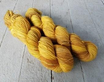 "Hand Dyed Sock Yarn, Superwash Wool - Merino - BFL - Nylon - Sparkle - Stellina, ""Hay Ride"""