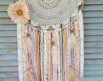 Coral and White Boho Dream Catcher