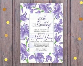 Iris Flowers Birthday Invitation, Iris Flowers Invite, 100th Birthday, Any age, Surprise Birthday , Adult birthday, Digital