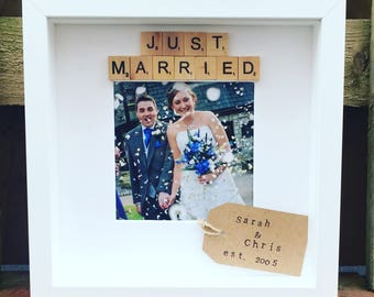 Just married Scrabble box photo frame - personalised with anniversary date or message