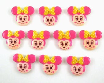 3 CABOCHON 23x18MM MINNIE head APPLIQUE