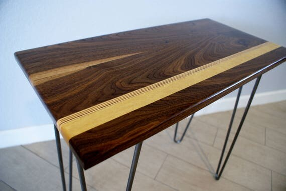Modern Walnut End Table- Modern Design- Wood Furniture- Hairpin Legs- Handcrafted- Wood and Metal -