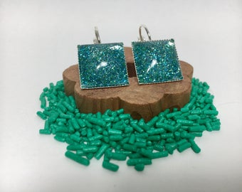 Square Turquoise Sparkle Glitter Clasp Earrings Multiple Colors Available - Jewelry