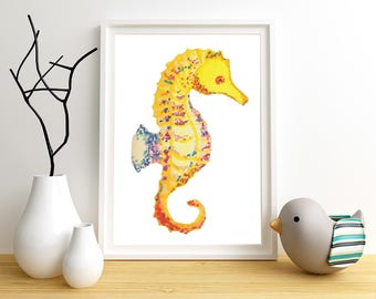 Seahorse Art, Kids Seahorse Art, Seahorse Print, Nautical Kids Art, Ocean Wall Art, Nursery Beach Art, Kids Beach Art, Kids Prints
