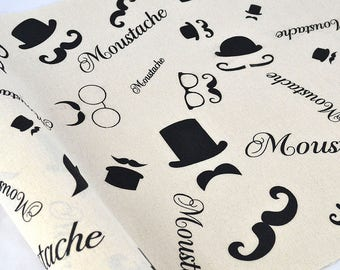MUSTACHE, Fabric With Mustache, Mustache On Fabric, Mustache Print Fabric, Black Mustache, Black Mustache On Fabric, Cool Mustache, DIY