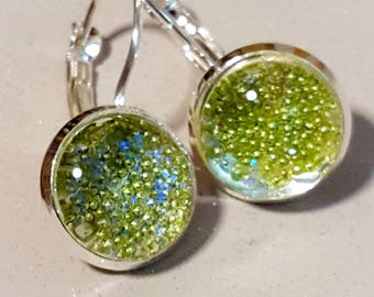 Green sparkles, cabachon,lever arch, silver plated, nickel free,silver, sparkly glitter, faux druzy,druzy earring,cabachon dangly, jewellery