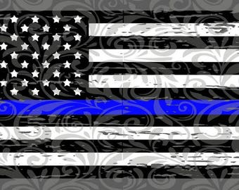 Distressed Flag, Thin Blue Line,  SVG Cut File