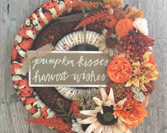 Autumn Pumpkin Wreath,Fall Floral Wreath, Fall Fabric Wrapped Wreath, Fall Front Door Wreath,  Autumn Front Door Wreath, Thanksgiving Wreath