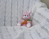White Hand Knit Baby Blanket - Baby Afghan
