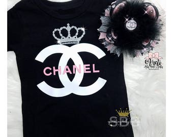 Baby Girl Toddler Chanel Inspired Shirt and Matching Over The Top Bow