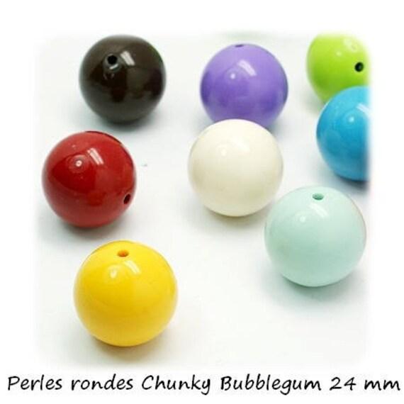 Round beads 24 mm x 1 [ChunkyBubblegum]