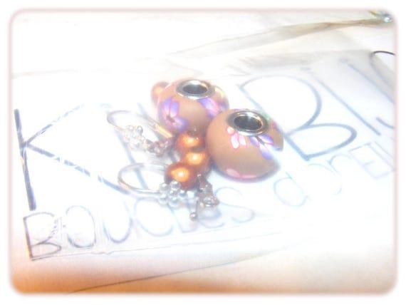 "END of series - Kit ""DIY"" earrings to make yourself [Floral Brown]"