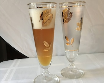 Set of 6 Gold Leaf and Frosted Libbey Pilsner Glasses -Fall Foliage Themed Drink-ware - Drink your beverage out of the correct glass.