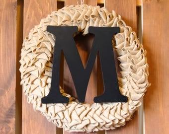 Monogram Burlap Petal Wreath