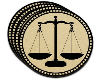 Scales Of Justice Mdf Wood Coaster Set Of 4