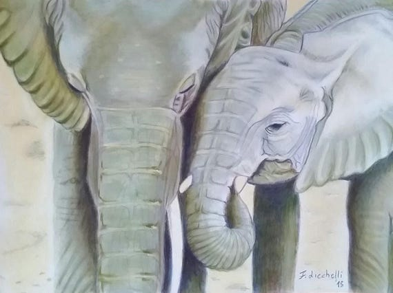 Elephants, giclee fine art print, A5, gift idea for children, boys or animals lovers, home office decoration, small wall art, mini painting.
