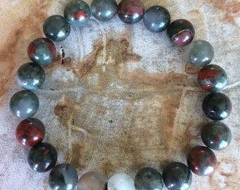 African Bloodstone Stretch Bracelet!! Handmade Natural Premium Beads Healing Bracelet! Healing Jewelry Meditation Reiki Yoga Metaphysical