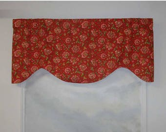 Richloom Red and Pink Jacobean Floral Slubbed Valance