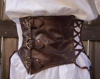 leather waist cincher. belt wide Brown; underbust Brown; medieval belt; wide leather belt