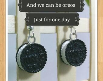 OREO EARRINGS novelty earrings  kitsch mini food earrings whimsical earrings fun earrings cute earrings
