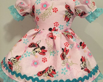 American Girl 18 inch doll dress with Minnie Mouse pattern