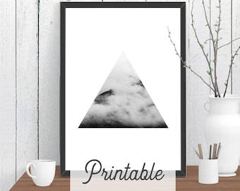 Triangle Cloud Mountain PRINTABLE Print | Scandi Wall Art | Modern Room Decor | Minimalist Downloadable Poster