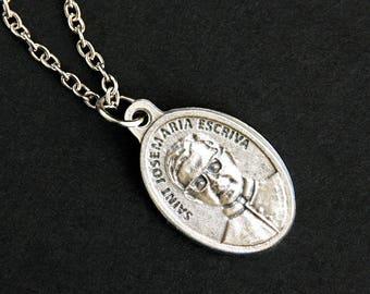 Saint Josemaria Escriva Necklace. Catholic Necklace. St Jose Maria Escriva Medal Necklace. Patron Saint Necklace. Catholic Jewelry.