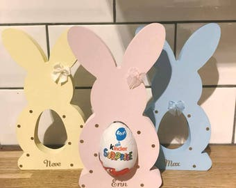 decorated personalised easter bunny bunni containing chocolate egg. wooden bunny mdf gift