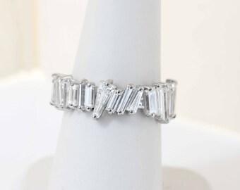 Diamond Baguette Eternity Band, Unique Wedding Band, Eternity Ring, Diamond Ring, Handmade Ring, Baguette Band