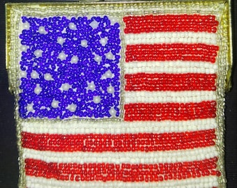 Patriotic Flag beaded Coin purse Red, White, and Blue