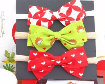 Valentine Gift For Baby Girl - Valentine Hair Bows for Girls - Nylon Headbands