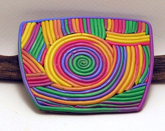 Home Decor Rectangular Ornament. Office Magnetic decoration. Whiteboard and refrigerator magnet in rainbow colours.