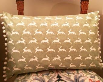 Pom Pom hare print cushion cover, green cushion, oblong cushion, scatter cushion, throw pillow, home decor, housewarming gift, fabric cover
