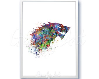 Game of Thrones House Stark Watercolor Art Poster Print - Game of Thrones Art Watercolor Painting - Home Decor - House Warming Gift [2]