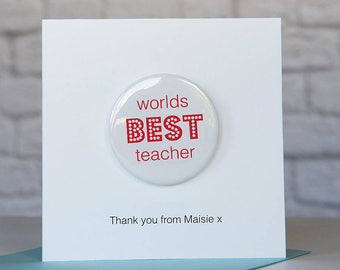 Personalised Worlds Best Teacher Badge Card