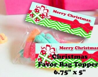 Christmas Treat Bag Toppers Christmas snack bag toppers Christmas Bag toppers Merry Christmas Candy Bag Toppers Christmas Bag toppers Xmas