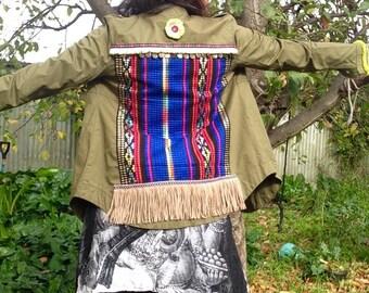 Upcycled & embellished Bohemian army jacket.
