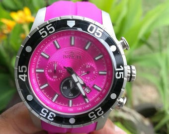 Invicta Men's 50mm Purple Pro Diver Quartz Chronograph Silicone Strap Watch #62
