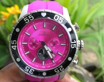 Invicta Men's 50mm Purple Pro Diver Quartz Chronograph Silicone Strap Watch #62