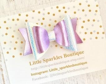 Mermaid hair bow, mermaid iridescent hair bow, lilac hair bow, white hair bow, over sized bow