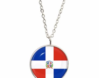 Dominican Republic Flag Pendant and Silver Plated Necklace