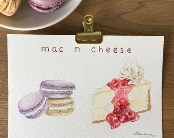 Original art   A6 postcard   watercolour and coloured pencils   macaroons and cheesecake