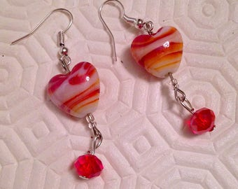 Earrings with hearts and red beads